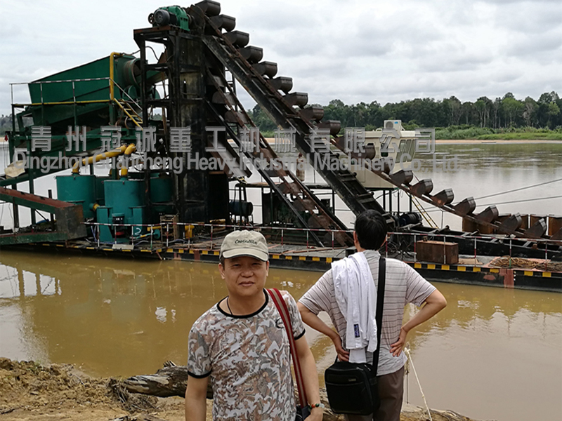 Bucket chain gold dredger